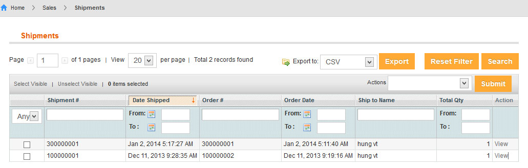 Vendor Manages Shipments