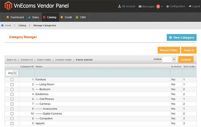 Vendor Manage Categories