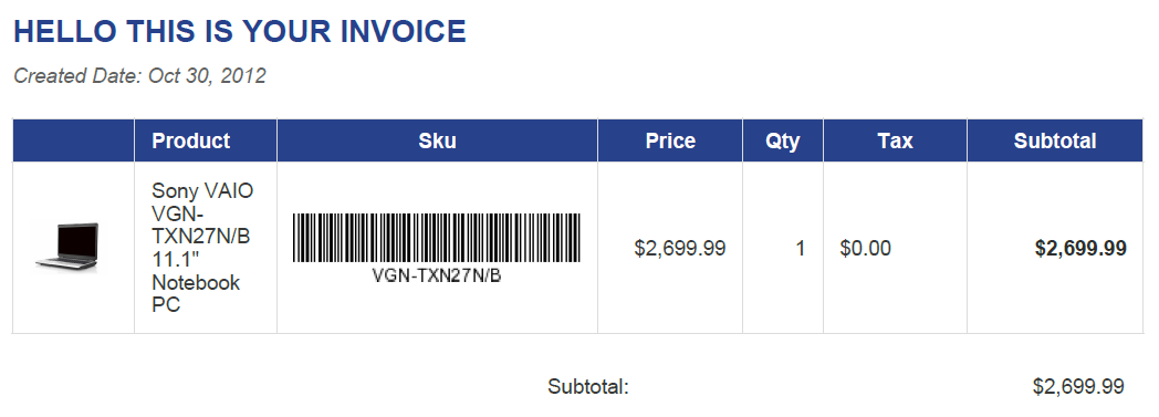 Add Barcode And thumbnail product image to PDF Invoice